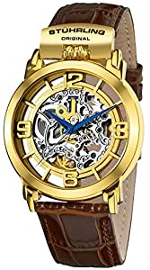 Stuhrling Original Men's 165F.333K31 Winchester General Automatic Skeleton Gold Tone Watch