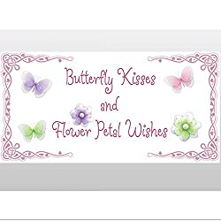 Flower Wishes Butterfly Kisses Quote Removable Vinyl Wall Sticker. Saying Butterflies Daisy Flowers Sayings Decals Quotes for Children's, Nursery & Baby's Room Decor, Baby Walls, Girls Bedroom Decorations. Stickers Decal Child's Art Murals Babies Shower