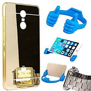 Aart Luxury Metal Bumper + Acrylic Mirror Back Cover Case For Redmi Note 3 Gold+ Flexible Portable Mount Cradle Thumb OK Designed Stand Holder