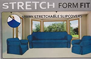 STRETCH FORM FIT - 3 Pc. Slipcovers Set, Couch/Sofa + Loveseat + Chair Covers - Navy Blue Color, Stretch Pique Fabric