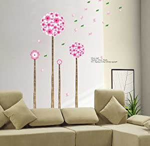 YYone Korean Style Wall Sticker Pandora's Dream Garden Four Flowers and Trees with Flying Leafs Room Wall Sticker Decor from YYone