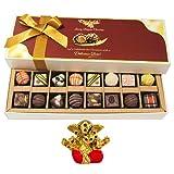 Chocholik Belgium Chocolates - 8 Milk And 8 White Attractive Chocolate Box With Small Ganesha Idol - Diwali Gifts