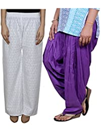 Indistar Women Full Cotton Chikan White Palazzo With Cotton Purple Full Patiala Salwar - Free Size (Pack Of 1...