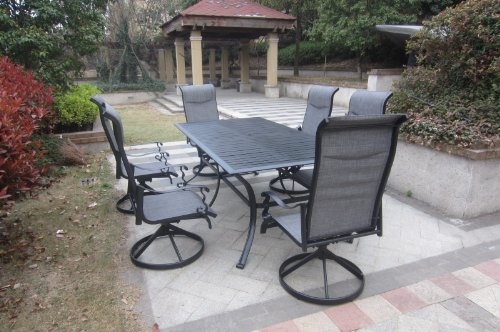 7pc Cast Aluminum Slat Top Swivel Patio Furniture