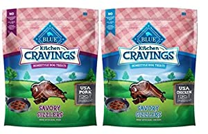 Blue Buffalo Kitchen Cravings Homestyle Treats For Dogs 2 Flavor Variety Bundle: (1) Blue Chicken Savory Sizzlers Kitchen Cravings Homestyle Dog Treats, and (1) Blue Pork Savory Sizzlers Kitchen Cravings Homestyle Dog Treats, 6 Oz. Ea. (2 Bags Total)