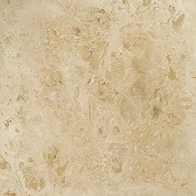 "Emser Tile ""Travertine Crosscut"" Filled & Honed Travertine Tile, 16"" x 16"", Pendio Beige"