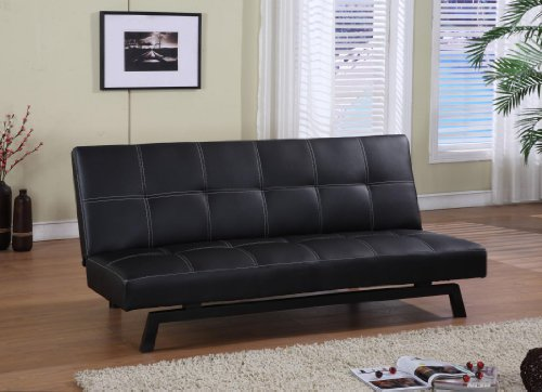 Black With White Stitching Vinyl Adjustable Back Klik Klak Sofa Futon Bed  Sleeper