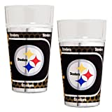 NFL Pittsburgh Steelers Pint Glass Set with Metallic Graphics (2-Piece), 16-Ounce, Clear