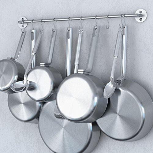 Steel Gourmet Kitchen 24 Inch Wall Rail and 10 S Hooks Set Utensil Pot Pan Lid Rack Storage Organizer Silver Color (Pot Rack Holder compare prices)