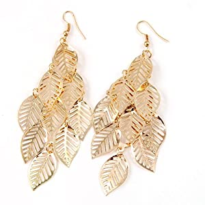World Pride Multi Layer Bohemian Tassel Golden Leaf Dangle Earrings
