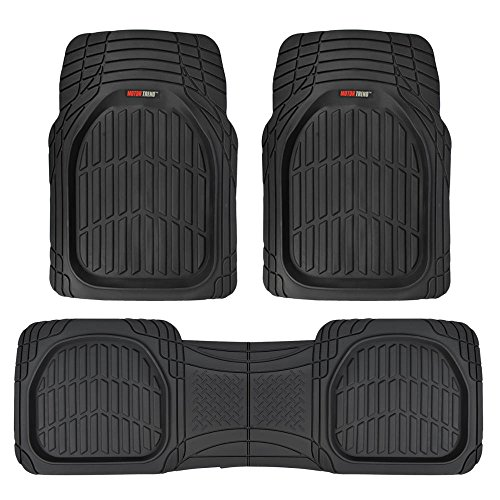 Motor Trend FlexTough Contour Liners - Deep Dish Heavy Duty Rubber Floor Mats - Black (2007 Chevy Tahoe Floor Liners compare prices)
