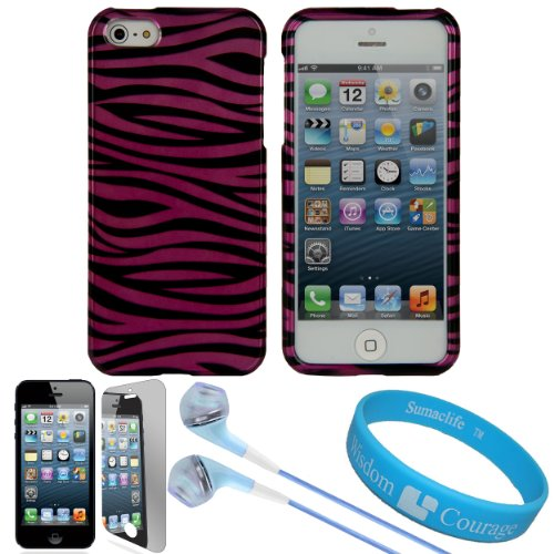 Pink-Black Zebra Pattern 2 Piece Crystal Hard Case Cover For Apple Iphone 5 Newest Model 5Th Generation (16Gb 32Gb 64Gb) + Mirror Scratch Guard Screen Protector + Blue Handsfree Hifi Noise Isolating Stereo Headphones With Windscreen Microphone And Soft Si