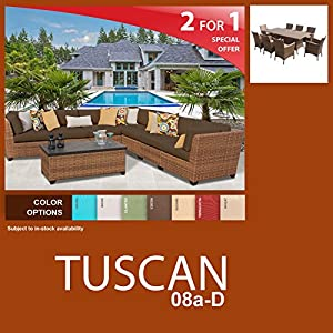 Tuscan 17 Piece Outdoor Wicker Patio Furniture Package TUSCAN-08a-D by TKC