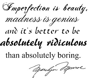 Imperfection Quote Black Vinyl Wall Decal Sticker Marilyn Monroe