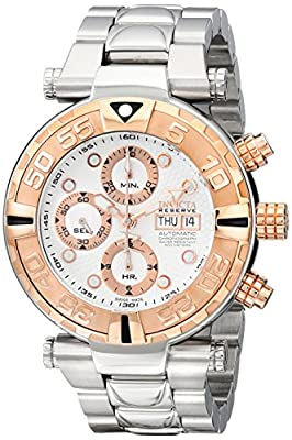Invicta Men's 10483 Subaqua Reserve Automatic Chronograph Silver Textured Dial Stainless Steel Watch