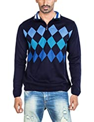 Zovi Men Acrylic Navy Blue Fullsleeved Pullover