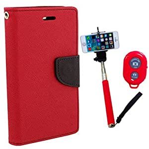 Aart Fancy Diary Card Wallet Flip Case Back Cover For Nokia 520 - (Red) + Remote Aux Wired Fashionable Selfie Stick Compatible for all Mobiles Phones By Aart Store