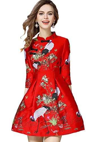 Tuliplazza Women's Crane Embroidery A-line Tunic Cocktail Party Prom Short Dress