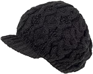 Nirvanna Designs CH401 Soft Wool Cable Visor Beret with Fleece, Black