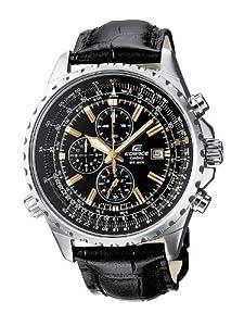 Casio - EF-527L-1A - Edifice - Montre Homme - Quartz Chronographe - Cadran Noir - Bracelet Cuir Noir