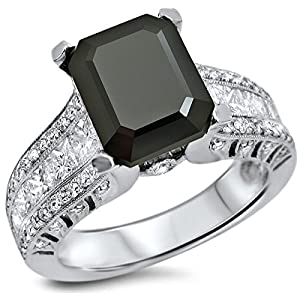 4.15ct Black Emerald Cut Diamond Engagement Ring 18k White Gold