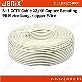 Jenix CCTV WIRE CABLE 3+1 Copper+ Copper Breding+mic Wire Copper- 90 METER (100 YARDS)