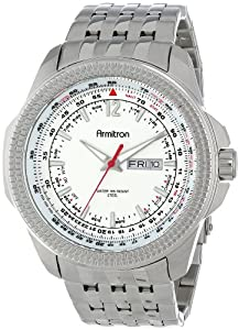 Armitron Men's 20/4954SVSV Day/Date Function Silver-Tone Bracelet Watch