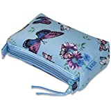 JODA Ladies Pretty Blue Butterfly Flower Cosmetic Make Up Bag Travel Purse 294-222
