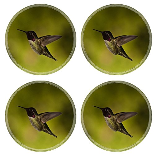 MSD Round Coasters 4 Pack Hummingbird and feeder Side view of hummingbird hovering next to a bird feeder Natural Rubber base IMAGE 20389323