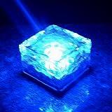 選べる4色 ソーラー 充電式 LED ガーデンライト キューブ 型 防水 自動点灯 埋め込み式 屋外照明 (青(ブルー))
