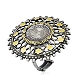 Artisan Crafted Silver and gold Coin Ring Antique for Women