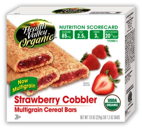 Health Valley Cobbler Cereal Bars, Strawberry, 6-Count 7.9-Ounce Boxes (Pack of 6)