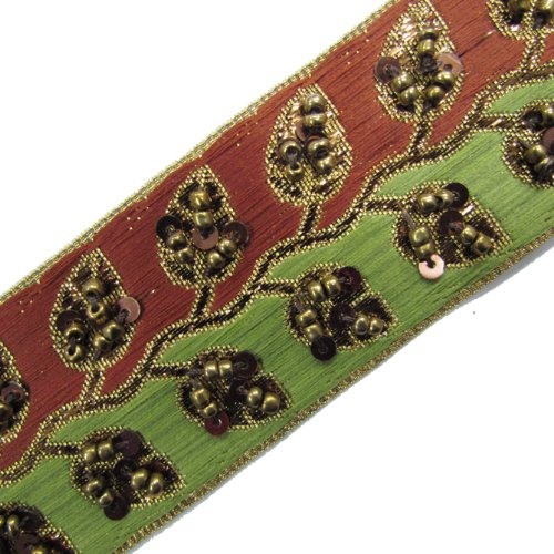 Hand Beaded Ribbon Trim Red Green Sequin Craft 1 Yard