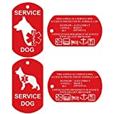 Service Dog ID Tags - Personalized FRONT AND BACK, Durable Premium Aluminum Set of 2 Tags