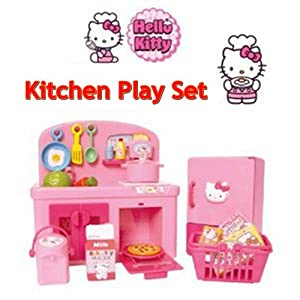 Hello kitty kitchen play set miniature toy for Kitchen set games