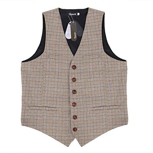Zicac denim uomo del panciotto della maglia gilet uomo alla moda ... (EU L (Asia XXXL), Cachi)