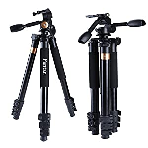 Pantan Q6 Plus Big Size Professional Aluminum Magnesium DV Tripod for DSLR Camera & Video Recorder 3-way Tripod Head Max Height 72 Inches Max Load 44 Lbs Carrying Bag Included