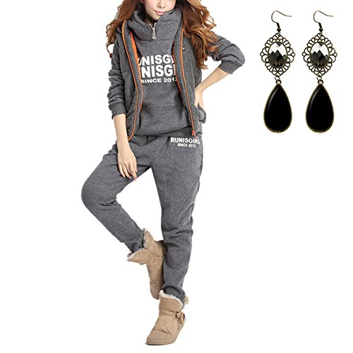M-Queen-Femmes-Survtement-Suit-Hoodie-CoatVestPantalon-3-en-1-Automne-Hiver-Sportwear-Jacket-Outwear-3pcs