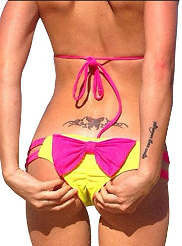Imixshopcs Sweet Heart Brazilian Bikini Strappy Bottom Hipster Swimsuit (M, Yellow+Rose Red Bowknot)