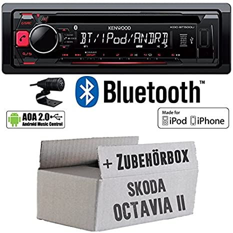Skoda Octavia 2 1Z - Kenwood KDC-BT500U - Bluetooth CD/MP3/USB Autoradio - Einbauset