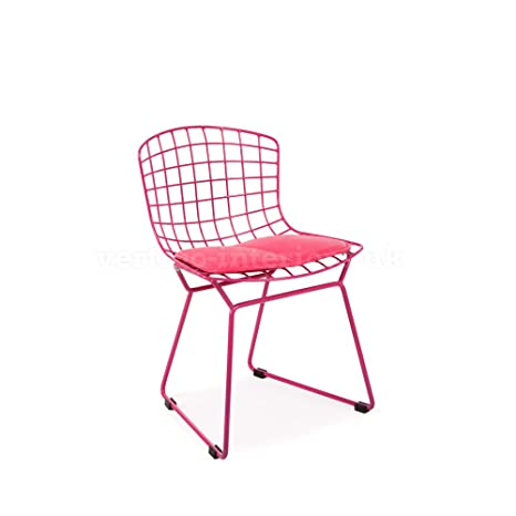 *Set of 6* Kids Bertoia Style Wire Playroom Lounge Bedroom Dining Side Chair - Pink