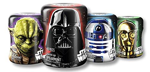 Star Wars Trident Spearmint White Gum Bottle - 60 Count (Pack of 4) Yoda R2-D2