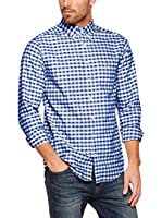 GANT Camisa Hombre The Oxford Gingham Reg Bd (Azul)