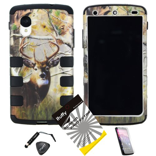 4 Items Combo: Mini Stylus Pen + Lcd Screen Protector Film + Case Opener + Silver Pine Tree Deer Leaves Camouflage Outdoor Wildlife Design Rubberized Hard Plastic + Soft Rubber Tpu Skin Dual Layer Tough Hybrid Case For Lg Google Nexus 5 / Lg D820 At&T, Ve