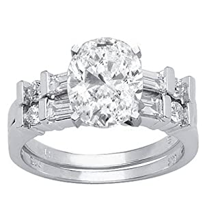 2.33 Carat Oval Cut / Shape GIA Certified 14K White Gold Channel Set Baguette And Round Diamond Wedding Set ( E Color , VS1 Clarity )