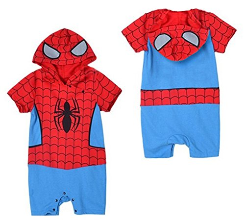 StylesILove Spiderman Short Sleeve Photo Prop Hoodie Baby Boy Romper (6-12 Months)
