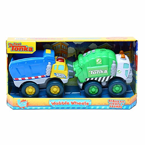 my-first-tonka-realistic-flashing-light-sound-wobble-wheels-dump-garbage-truck-2-pack-for-age-1-
