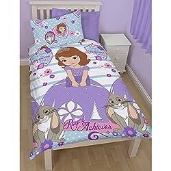 Disney - Sofia La Principessa - Royal Achievement Completo Copri Piumone Reversibile - Bambine (Letto Singolo) (Lilla/Blu)