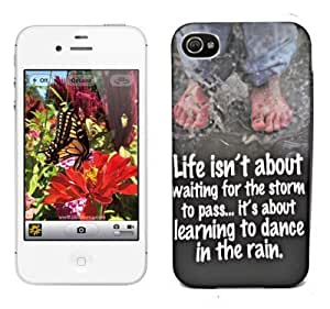 Exclusive Limited Edition Night Glow Super Radium Soft Back Case Cover Back Cover For Apple iPhone 4 4G 4S-Life Isn't Waiting Thought