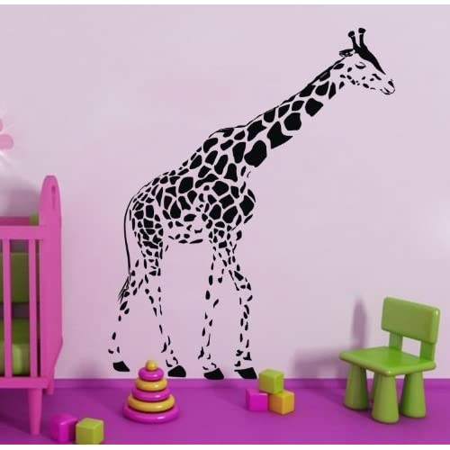 Black Giraffe Wall Decal for Kids Bedroom Cartoon Animals Graphic Wall Sticker Decor DIY Wallpaper for Children Playroom Vinyl Wall Decal Home Room Design Mural Art - Size 23.6 X 47.2